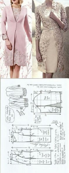 Sewing Dress Jacket adorned with lace. Sewing Dress, Sewing Clothes, Diy Clothes, Clothing Patterns, Dress Patterns, Sewing Patterns, Diy Fashion, Ideias Fashion, Fashion Design