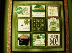 Patrick's Day Stampin' Sampler by stitchingandstamping - Cards and Paper Crafts at Splitcoaststampers St Patricks Day Cards, Saint Patricks, Collage Frames, Collages, Scrapbook Cards, Scrapbooking, Scrapbook Frames, Shadow Box Frames, St Paddys Day