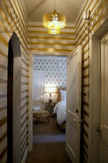 striped hallway walls