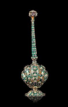 A Mughal gem-set enamelled silver-gilt rosewater sprinkler  North India, possibly Delhi, late 18th/ early 19th century  Islamic and Indian Art sale, London, October 23 2017