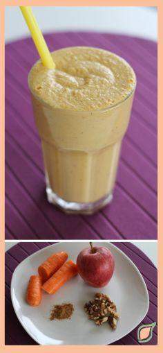 """Smoothie """"Pastel de Zanahoria""""  Las zanahorias tienen potasio que ayuda a equilibrar los niveles altos de sodio asociados a la hipertensión y mantiene la presión arterial bajo control. Puede ayudar a mejorar la apariencia de la piel, el cabello, las uñas, etc y también mejorar la salud de los ojos. La pectina de las manzanas reduce el colesterol LDL (""""colesterol malo""""). La canela se utiliza para ayudar a tratar los espasmos musculares, vómitos, diarrea, infecciones, resfriado común."""