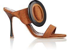 Manolo Blahnik Fibionabo Suede Slide Sandals - 7.5 Brown