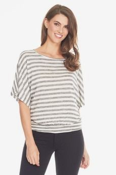 Cropped Stripe Dolman Top by Summer & Sage