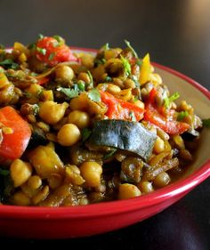 TESTED- Moroccan Eggplant With Garbanzo Beans- we really liked this a lot! I used extra tomato sauce to make it more stew-like, served over ginger scented rice. Serves 4, not 1!