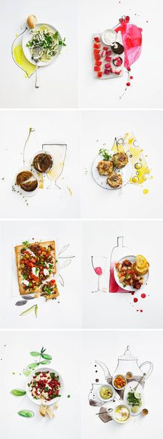 Food-styling combined with illustration  http://www.theartfuldesperado.com/wp-content/uploads/2012/12/Great-food-stylinf.jpg (Pour Feliciter Ideas)