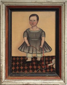 """Folk Portrait of a Child Artist unknown, New England, probably Massachusetts, c. 1830 Oil on canvas, 27"""" x 20"""" In a 19th c. painted frame, H 35 3/4"""" x W 28 3/4"""""""