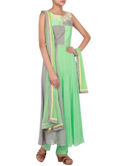 Mint and grey suit embellished in thread and sequin only on Kalki