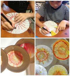 This coffee filter, paper plate sun catcher craft is perfect for the Sun unit of My Father's World or any solar system unit study.