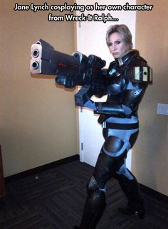 Flattery don't charge these batteries, civilian… Jane Lynch, you make me so happy with this!