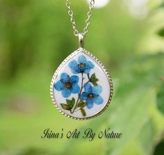 Real Forget Me Not Teardrop Pendant Necklace Blue Pressed