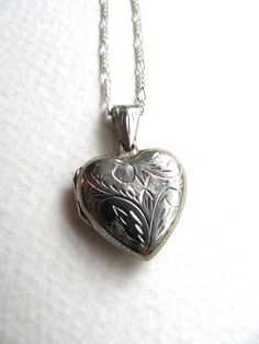 Sterling silver engraved vintage heart locket by MySoCalledVintage, $68.00