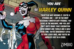 I took Zimbio's Batman villains quiz and I'm Harley Quinn! Umm I've always pinned myself more of a poison ivy type Gotham City, Joker And Harley Quinn, Harley Batman, Thing 1, My Demons, My Spirit Animal, The Villain, Poison Ivy, Comic Character