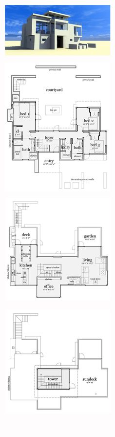 Modern House Plan 67595 | Total Living Area: 1923 sq. ft., 3 bedrooms and 2.5 bathrooms. #modernhome