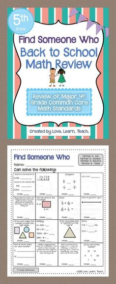 Making something like this for my and graders. Last week of school/first week of school activities. Teaching 5th Grade, Fifth Grade Math, Teaching Math, Teaching Ideas, Fourth Grade, Back To School Activities, Math Activities, School Ideas, Math 5
