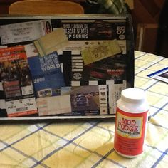 Nascar ticket stub tray done with mod podge. Did this for my hubby so he can eat his peanuts while watching his races!
