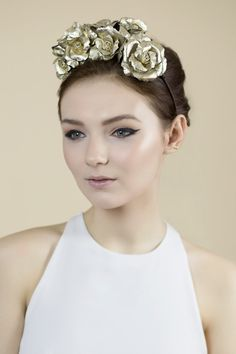 Gold Floral Wedding Crown Rose Headpiece by MaggieMowbrayBRIDAL