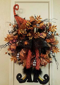 Halloween Witch Wreath, Halloween Wreath, Witch Wreath, Halloween Decor, Witch…