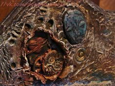 """My new work- merch (souvenirs) for the rock band """"Сказки Черного Города"""" Perpetual calendar made by the tune of """"The Watchmaker"""" from the new album Volume II. Reach for the stars. Make a calendar in the art Mixed Media, mixing different textures, layered painting, many decorative details. The result had been an interesting art object."""