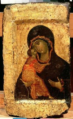 The Vladimir Madonna and Child, Russian icon, Moscow School by (circle of) Rublev, Andrei - Reproduction Oil Painting Byzantine Art, Byzantine Icons, Religious Icons, Religious Art, Russian Icons, Best Icons, Most Famous Paintings, Madonna And Child, Art Icon