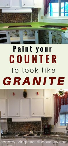 Get rid of your ugly counter by painting it! Make it look like Granite - step by step instructions. Get rid of your ugly counter by painting it! Make it look like Granite - step by step instructions. Home Renovation, Home Remodeling, Kitchen Remodeling, Farmhouse Renovation, Kitchen Styling, Kitchen Decor, Kitchen Ideas, Kitchen Paint, Ikea Kitchen