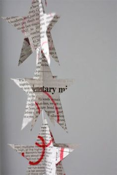 decorating with newsprint | Stitched Newsprint Garland...project that's perfect for a rainy (or ...