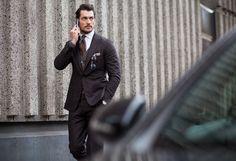 Most WANT-ed #LONDON menswear Fall 2015 Street Style David Gandy #UK #stylish #streetfashion #outfit #lotd #look #ootd style #Fashion  #FW15 #LFW