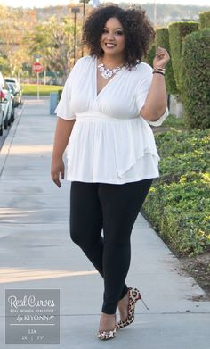 """Real Curve Cutie Lia (5'9"""" and a size 2x) keeps it chic with our plus size Promenade Top and Yummie Tummie Milan Cotton Leggings. www.kiyonna.com #KiyonnaPlusYou #MadeintheUSA #OOTD"""