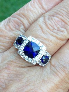 vintage signed filigree 2 ct cushion cut ceylon sapphire estate engagement/wedding or right hand sterling art deco ring