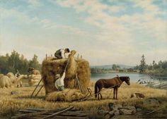 """Harvesters"" - ""Elonkorjuu"", 1879 – oil on canvas – Ferdinand von Wright - Ateneumin taidemuseo Black Australian Shepherd, Scandinavian Paintings, Leopard Appaloosa, Wright Brothers, People Of Interest, Finland, Oil On Canvas, Art Gallery, Horses"