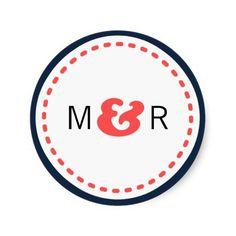 Modern Chevron (Coral and Navy) Wedding Monogram Classic Round Sticker