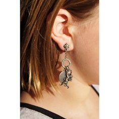 Art Nouveau Cupid Heart Charms Dangle Earrings La Vie Parisienne ($49) ❤ liked on Polyvore featuring jewelry, earrings, charm earrings, clip earrings, art nouveau earrings, dangle clip on earrings and clip on earrings