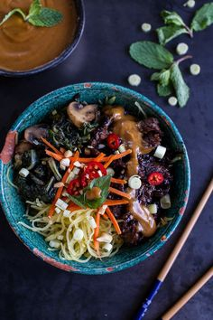 Lunch bowl goals: Vietnamese Lemongrass Beef and Spaghetti Squash Noodle Bowls with Peanut Sauce