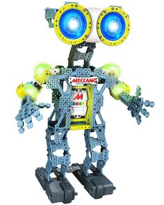 Meccano Meccanoid G15 - $179.99 -- It's an Erector Set robot and you can program it in different ways, to follow and mimic your movements, to record your voice, to memorize puppet movements, or you can control it with a smart device. #ErectorSet #Robot