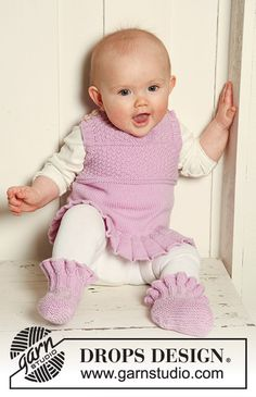 Sweet Baby Knitting Patterns, Knitting For Kids, Baby Patterns, Free Knitting, Crochet Patterns, Drops Design, Knitted Baby Clothes, Knitted Baby Blankets, Drops Baby