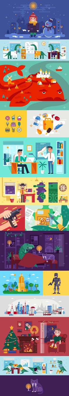 Flat illustrations on Behance