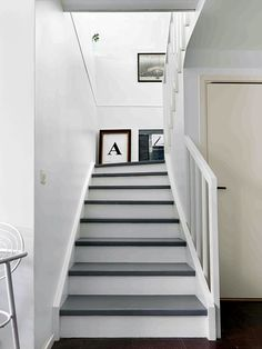 Grey and white stairs. grey/white staircase walls and halls home in 2019 wh Wood Stair Treads, Wood Stairs, White Staircase, Staircase Design, Staircase Walls, Entry Stairs, House Stairs, Hallway Inspiration, Staircase Remodel