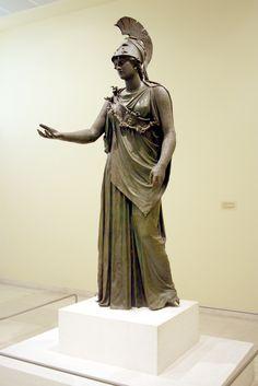 The Piraeus Athena.  A 4th century BC Bronze statue.  Archaeological Museum of Piraeus, Athens