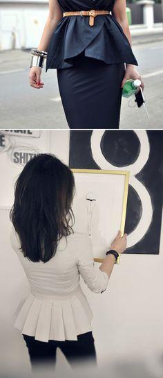 black peplum top/pencil skirt + white peplum jacket = love the looks @AnnMarie Francis