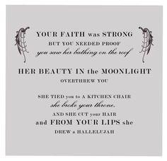 love these lyrics, in my head for days... Hallelujah by Leonard Cohen