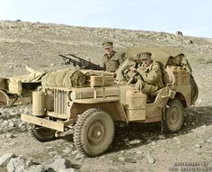 Two members of 1 SAS , Captain D C Mather MC, Welsh Guards and Captain G Alston, Royal Artillery (nearest camera) in a heavily loaded jeep, North Africa, WWII