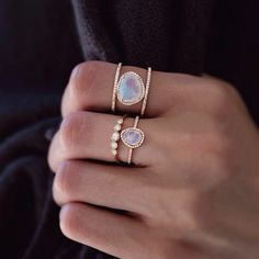 14kt gold mini moonstone and diamond ring – Luna Skye by Samantha Conn