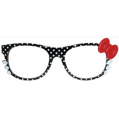 Bonjour! Polka Dot Wayfarer Style Glasses with Big Bow and Whiskers!