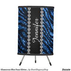 Glamorous Blue Faux Glitter Zebra Pattern Tripod Lamp