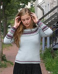"""Ravelry: Caitlin Pullover, free pattern, 5.5 st / """", slip stitch colour work. Try this with subtle colour variation and oversized."""