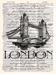 London Bridge Vintage Dictionary Print by TheRekindledPage