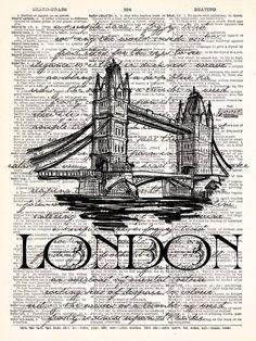 London Bridge Vintage Dictionary Print door TheRekindledPage