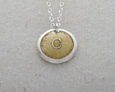 """""""C"""" Initial Necklace Glass Enamel On Fine Silver by FusedInc on Etsy, $42.00 (23 colors) #jewelry #enamel #necklace"""