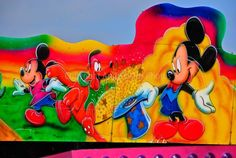 Mickey Mouse, Minnie Mouse and Pluto Art Mural, photograph picture poster print #mickeymouse #disney #picture #art