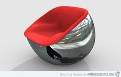 """Designer Carlo Colombo's amazing 2008 """"Ball Chair"""" design for Italian furniture firm Arflex has been rightly described as both """"refined"""" and """"extreme"""". """"Ball"""" modern sculptural chair is executed in… Modern Industrial Furniture, Futuristic Furniture, Unique Furniture, Modern Interior, Furniture Design, Futuristic Interior, Futuristic Design, Funky Furniture, Luxury Interior"""