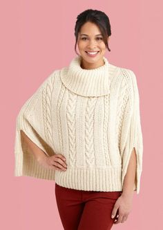 Lion Brand Galway Poncho shown is Fisherman's Wool.